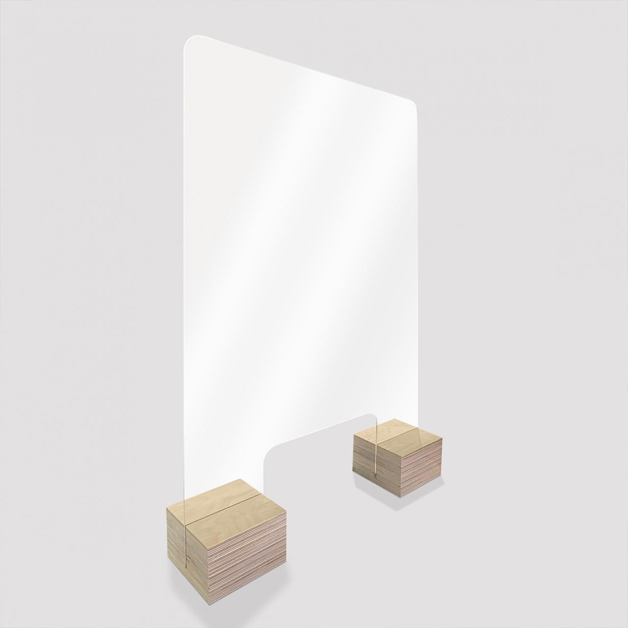 """Spuckschutz """"Woody"""" aus Plexiglas mit formschönen Holzfüßen als Aufsatz für schmale Verkaufstresen"""