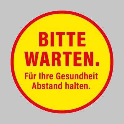 Fußbodenaufkleber, rot-gelb, Ø 48cm – Bitte warten