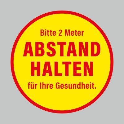 Fußbodenaufkleber, rot-gelb, Ø 48cm – 2 Meter Abstand halten