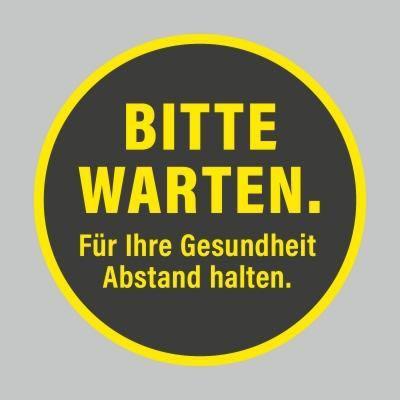 Fußbodenaufkleber, gelb-schwarz, Ø 48cm – Bitte warten
