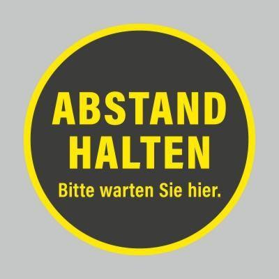 Fußbodenaufkleber, gelb-schwarz, Ø 48cm – Abstand halten