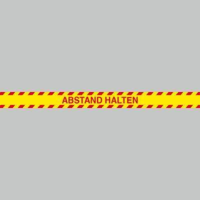 Fußbodenaufkleber rot-gelb, Streifen, 120x9,6cm – Abstand halten