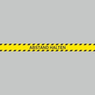 Fußbodenaufkleber schwarz-gelb, Streifen, 120x9,6cm – Abstand halten