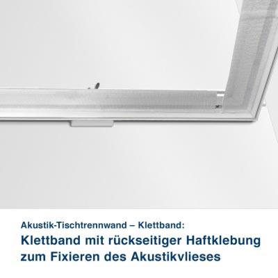 Akustik-Tischtrennwand – Klettband:   Klettband mit rückseitiger Haftklebung zum Fixieren des Akustikvlieses