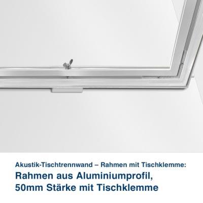 Akustik-Tischtrennwand – Rahmen mit Tischklemme:   Rahmen aus Aluminiumprofil,  50mm Stärke mit Tischklemme