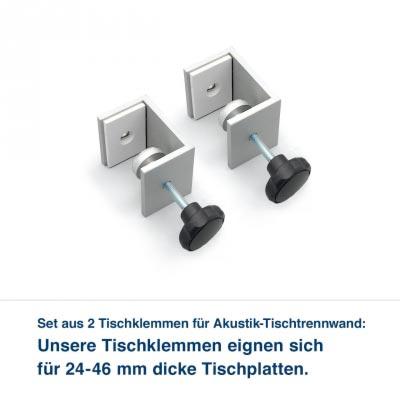 Set aus 2 Tischklemmen für Akustik-Tischtrennwand:   Für Ihre Akustik-Tischtrennwand liefern wir Tischklemmen zur Montage mit. für