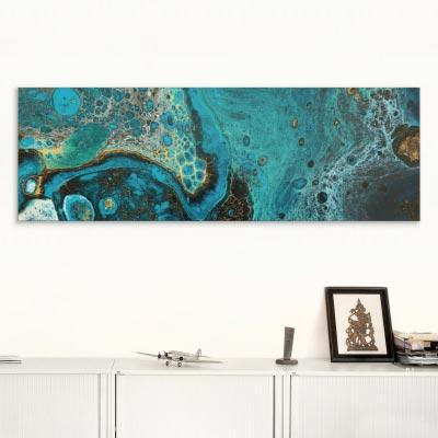 Akustikbild Fluid Art, blau-gold-türkis
