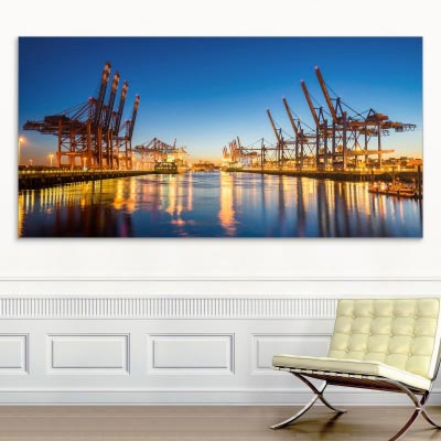 Akustikbild Hamburg Containerhafen, einseitig, Wandmontage