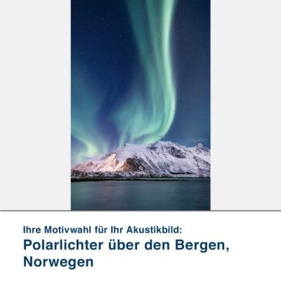 Akustikbild Motiv Polarlichter über den Bergen, Norwegen