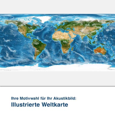 Akustikbild Motiv illustrierte Weltkarte