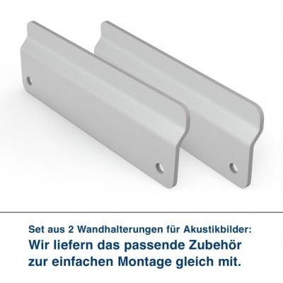 Set aus 2 Wandhalterungen für Akustikbilder:  Wir liefern das passende Zubehör zur einfachen Montage gleich mit.