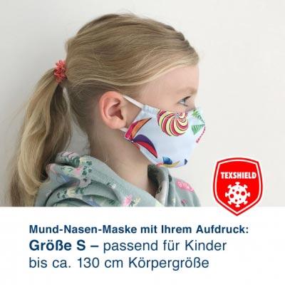 """Mund-Nasen-Maske S """"MyDesign"""" mit Ihrem Aufdruck und antiviraler Beschichtung"""