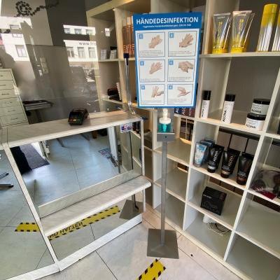 Formschöner Desinfektionsständer, aus Edelstahl gefertigter, Desinfektionsständer mit individuellem Print