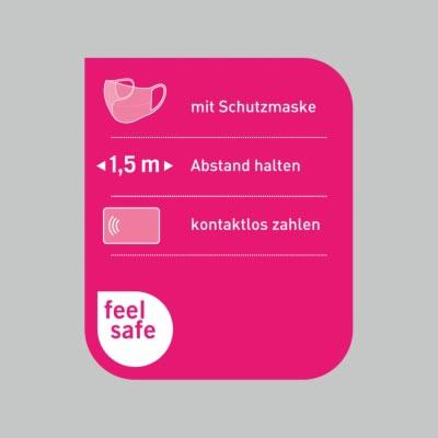 Schaufensteraufkleber 25x30cm – Verhaltensregeln »feel safe«