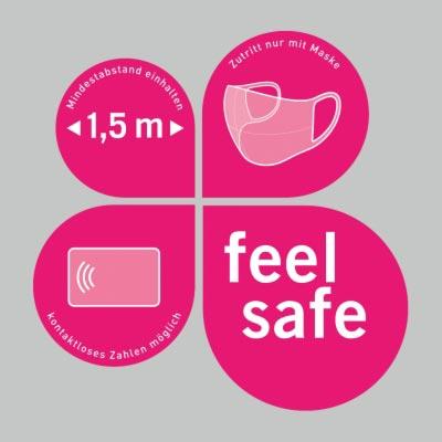 Vierteiliger Schaufensteraufkleber 38x38,5cm – Verhaltensregeln »feel safe«