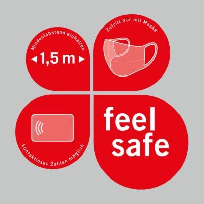 Vierteiliger Schaufensteraufkleber 38x38,5cm, rot – Verhaltensregeln »feel safe«