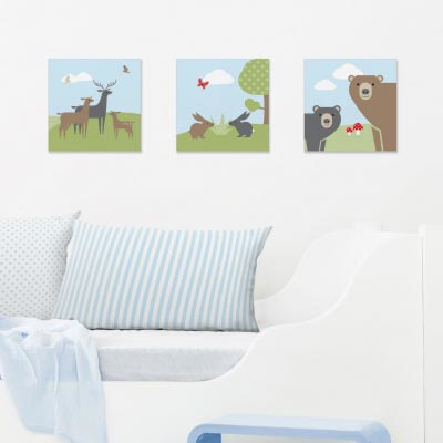 Bilder-Set mit Waldmotiven, Bears