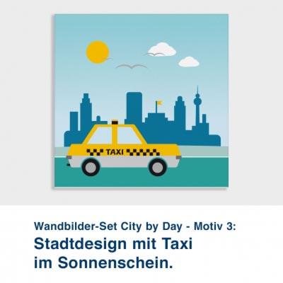 Wandbilder-Set City by Day - Motiv 3:  Stadtdesign mit Taxi im Sonnenschein.