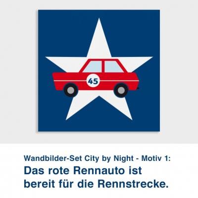 Wandbilder-Set City by Night - Motiv 1:  Das rote Rennauto ist  bereit für die Rennstrecke.