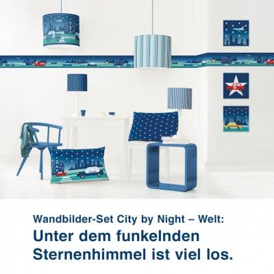 Wandbilder-Set City by Night – Welt:  Unter dem funkelnden  Sternenhimmel ist viel los.