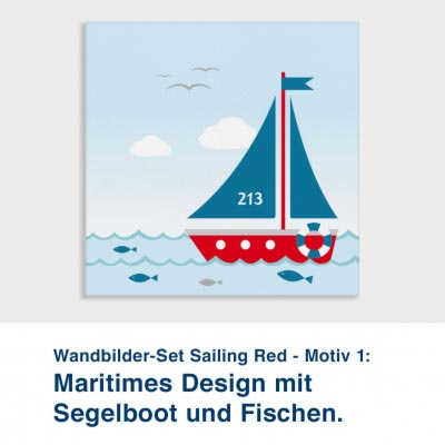 Wandbilder-Set Sailing Red - Motiv 1:  Maritimes Design mit  Segelboot und Fischen.