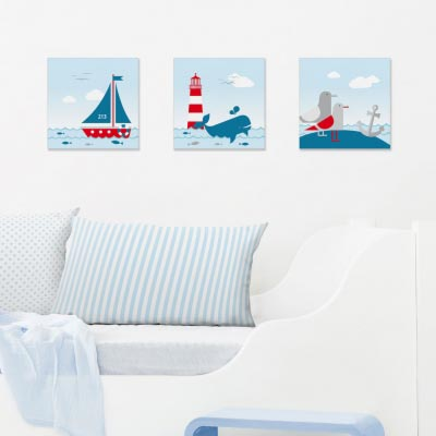 Bilder-Set im maritimen Design, Sailing Red
