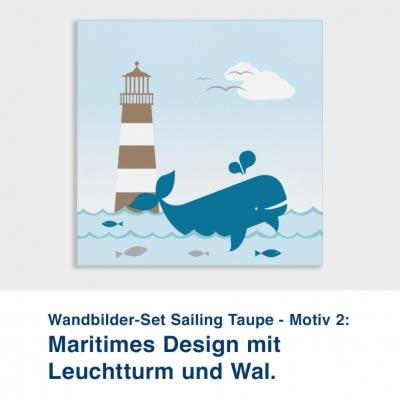 Wandbilder-Set Sailing Taupe - Motiv 2:  Maritimes Design mit  Leuchtturm und Wal.