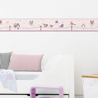 Bordüre fürs Kinderzimmer mit Vogelmotiv, Birds&Flowers