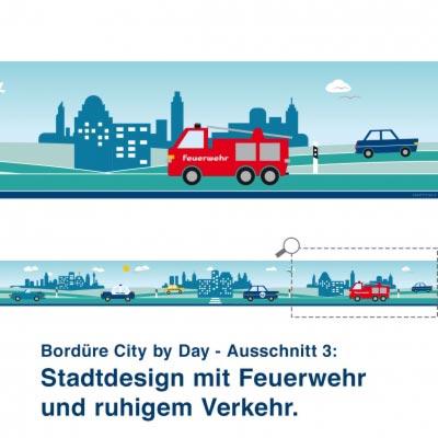 Bordüre City by Day - Ausschnitt 3:   Stadtdesign mit Feuerwehr  und ruhigem Verkehr.