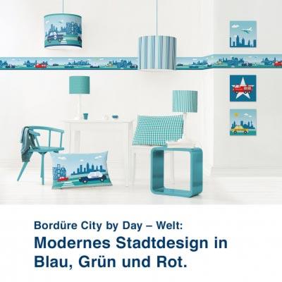 Bordüre City by Day – Welt:  Modernes Stadtdesign in  Blau, Grün und Rot.