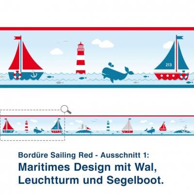 Bordüre Sailing Red - Ausschnitt 1:   Maritimes Design mit Wal,  Leuchtturm und Segelboot.