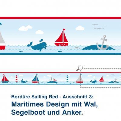 Bordüre Sailing Red - Ausschnitt 3:   Maritimes Design mit Wal, Segelboot und Anker.