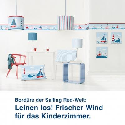 Bordüre der Sailing Red-Welt:  Leinen los! Frischer Wind für das Kinderzimmer.
