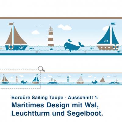 Bordüre Sailing Taupe - Ausschnitt 1:   Maritimes Design mit Wal,  Leuchtturm und Segelboot.