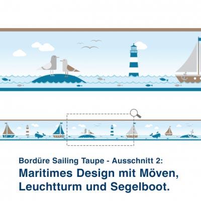 Bordüre Sailing Taupe - Ausschnitt 2:   Maritimes Design mit Möven, Leuchtturm und Segelboot.
