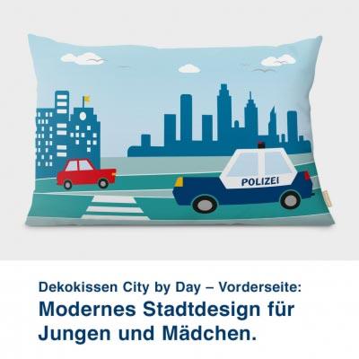 Dekokissen City by Day – Vorderseite:  Modernes Stadtdesign für  Jungen und Mädchen.