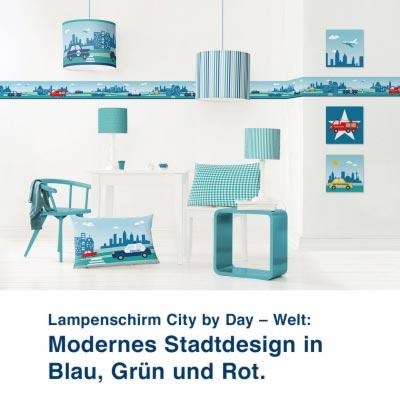 Lampenschirm City by Day – Welt:  Modernes Stadtdesign in  Blau, Grün und Rot.