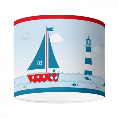 Kinderzimmerlampe im maritimen Design, Sailing Red