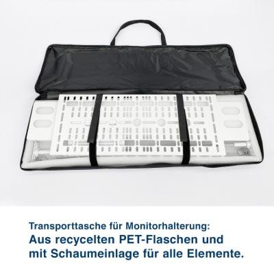 Transporttasche für Monitorhalterung:  Aus recycelten PET-Flaschen und  mit Schaumeinlage für alle Elemente.