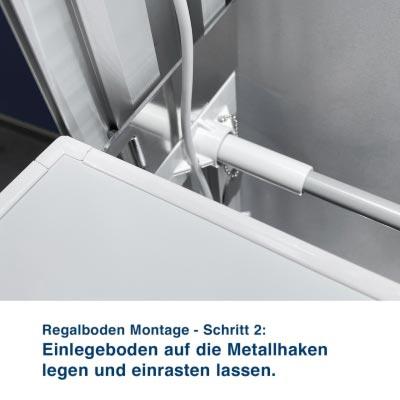 Regalboden Montage - Schritt 2:  Einlegeboden auf die Metallhaken  legen und einrasten lassen.
