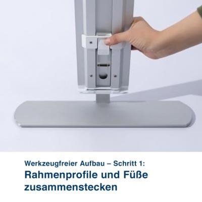 Mobile Light Box – Werkzeugfreier Aufbau – Schritt 1:  Rahmenprofile und Füße zusammenstecken
