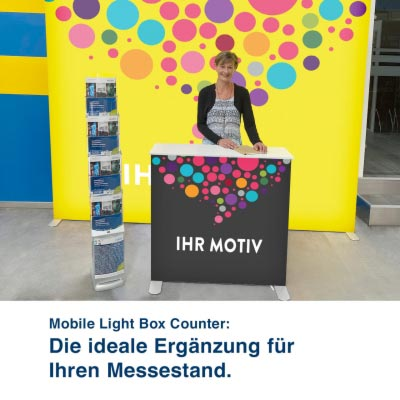 Der Mobile Light Box Counter ist die ideale Ergänzung für Ihren Messestand.