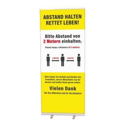 Roll-Up, gelb, Abstand halten