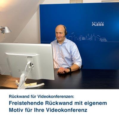 Rückwand für Videokonferenzen:   Freistehende Rückwand mit eigenem Motiv für Ihre Videokonferenz